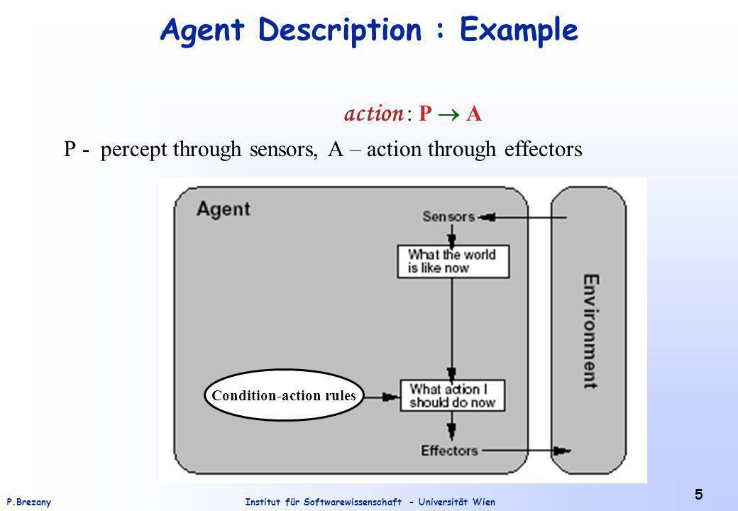 Institut für Softwarewissenschaft - Universität WienP.Brezany 5 Agent Description : Example action : P A P - percept through sensors, A – action through effectors Condition-action rules