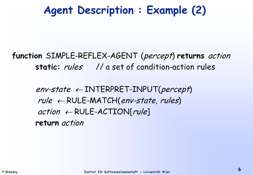 Institut für Softwarewissenschaft - Universität WienP.Brezany 6 Agent Description : Example (2) function SIMPLE-REFLEX-AGENT (percept) returns action static: rules // a set of condition-action rules env-state INTERPRET-INPUT(percept) rule RULE-MATCH(env-state, rules) action RULE-ACTION[rule] return action