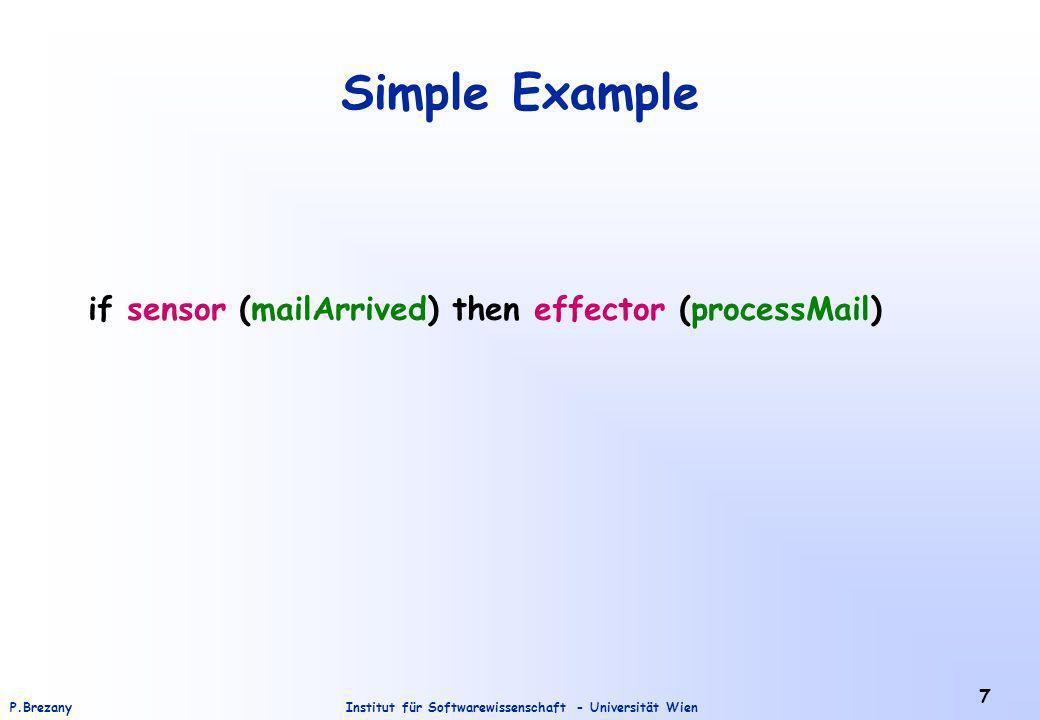 Institut für Softwarewissenschaft - Universität WienP.Brezany 7 Simple Example if sensor (mailArrived) then effector (processMail)