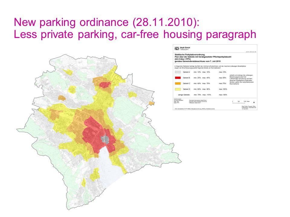 Ecomm2011 Toulouse 18.5.2011, Seite 10 Stadt Zürich Tiefbauamt, M+P New parking ordinance (28.11.2010): Less private parking, car-free housing paragra