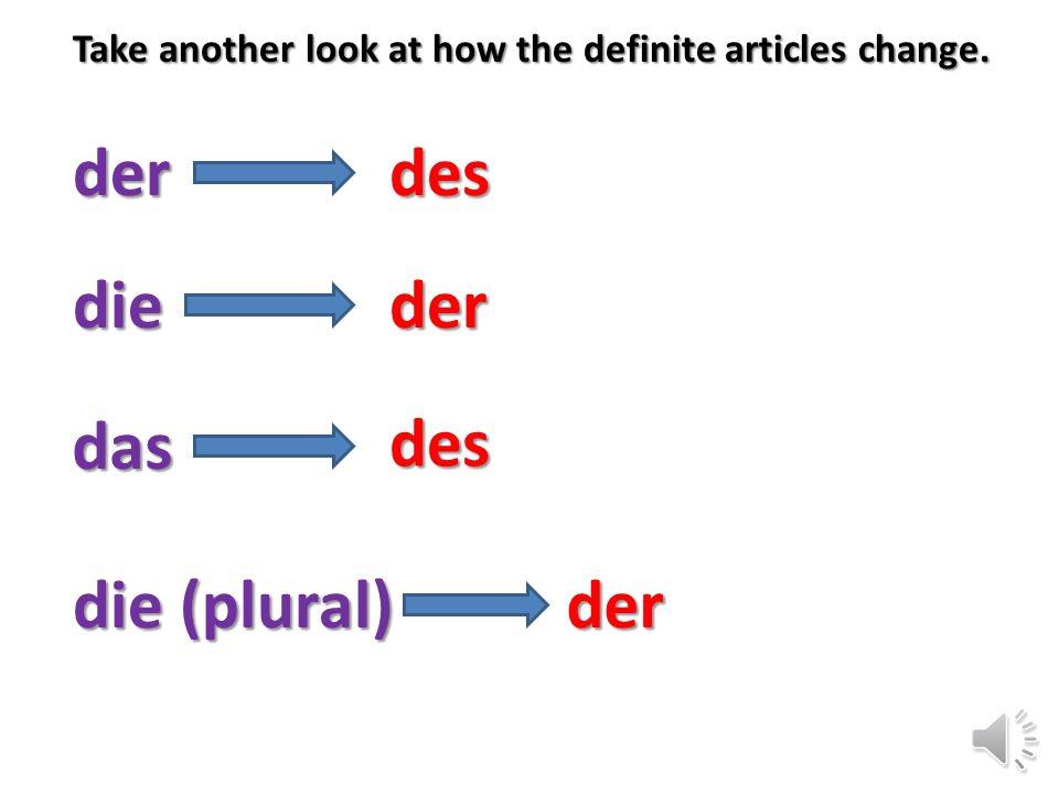 Definite Articles (the) Fall Case Masc.Neu.Fem.Plur. Nomderdasdie Gendes (-es/s)*der Indefinite Article (a/an) Nomein einekeine Geneines (-es/s)*(k)ei