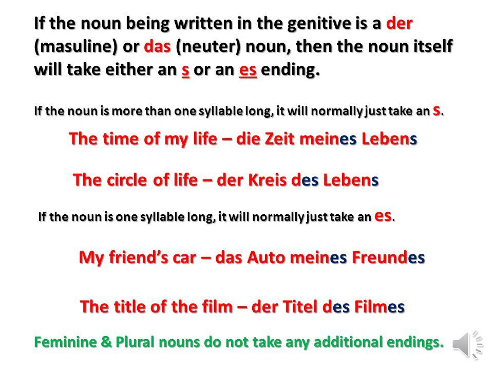 Take another look at how the indefinite articles change. ein (der word) eine (die word) Ein (das word) eines einer eines