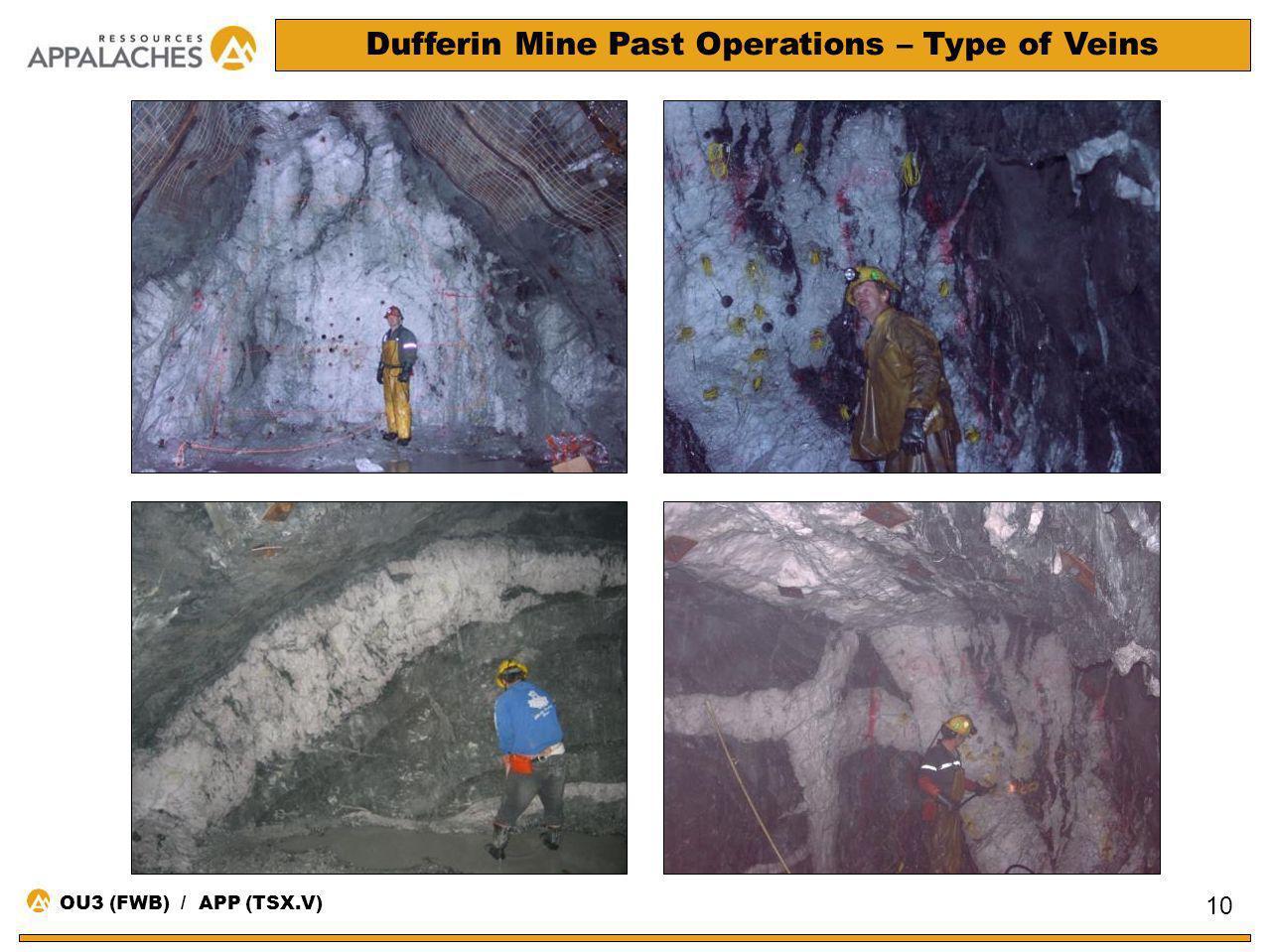 Dufferin Mine Past Operations – Type of Veins 10 OU3 (FWB) / APP (TSX.V)