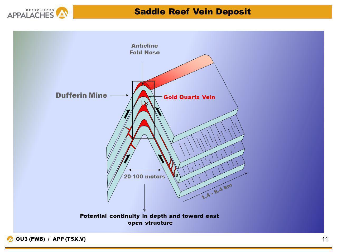 Saddle Reef Vein Deposit Anticline Fold Nose D Dufferin Mine Gold Quartz Vein 20-100 meters 1.4 - 8.4 km 11 OU3 (FWB) / APP (TSX.V) Potential continui
