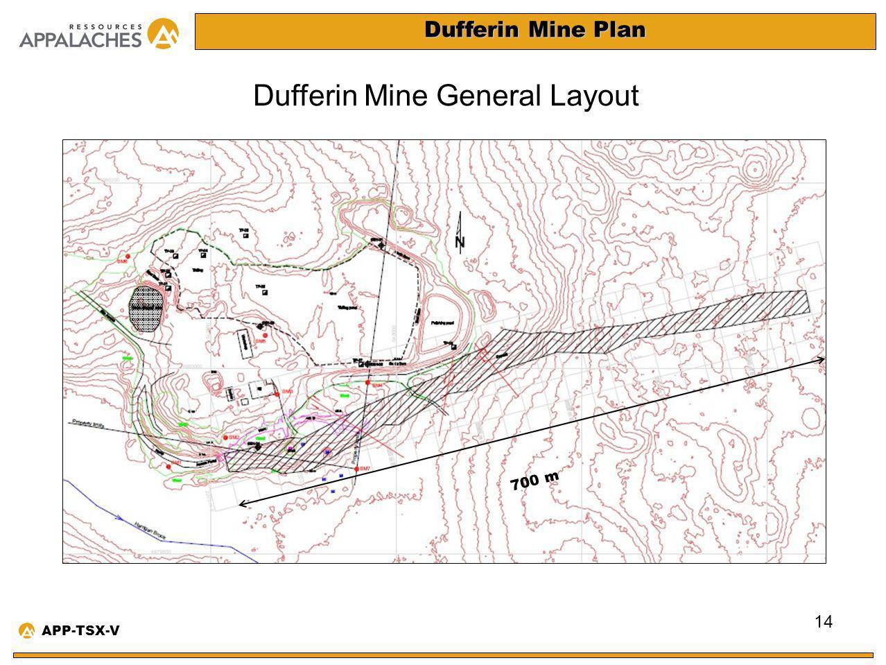 Dufferin Mine Plan Dufferin Mine General Layout 14 APP-TSX-V 700 m