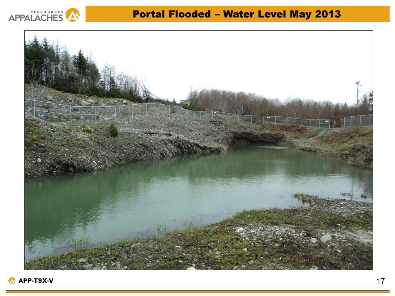 Portal Flooded – Water Level May 2013 17 APP-TSX-V