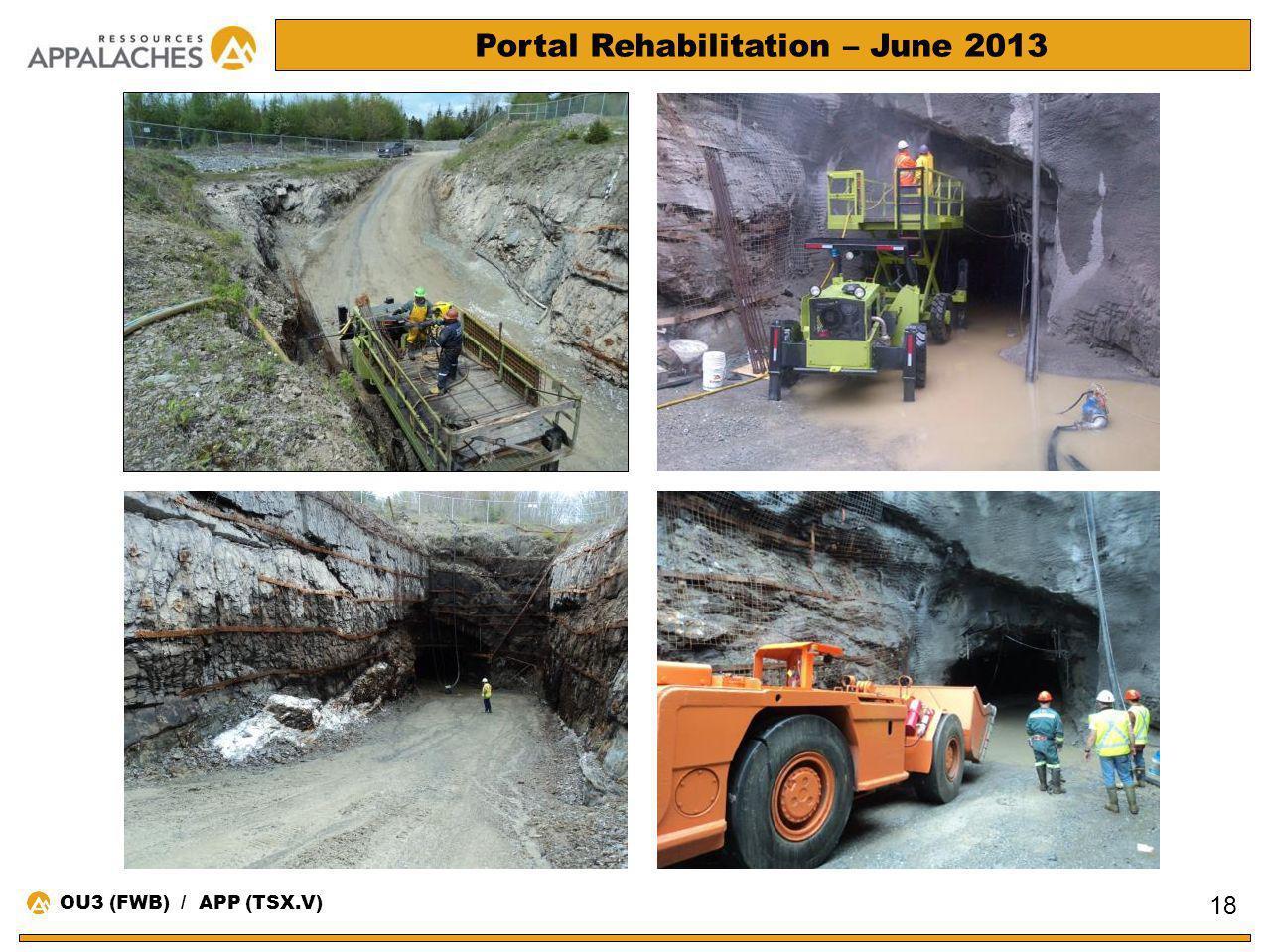 Portal Rehabilitation – June 2013 18 OU3 (FWB) / APP (TSX.V)