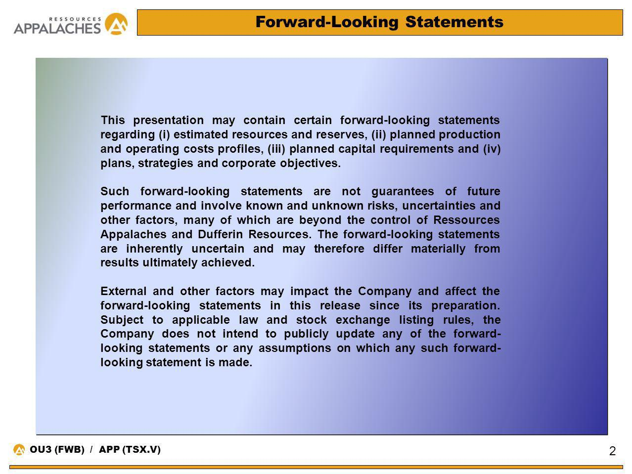 Forward-Looking Statements This presentation may contain certain forward-looking statements regarding (i) estimated resources and reserves, (ii) plann