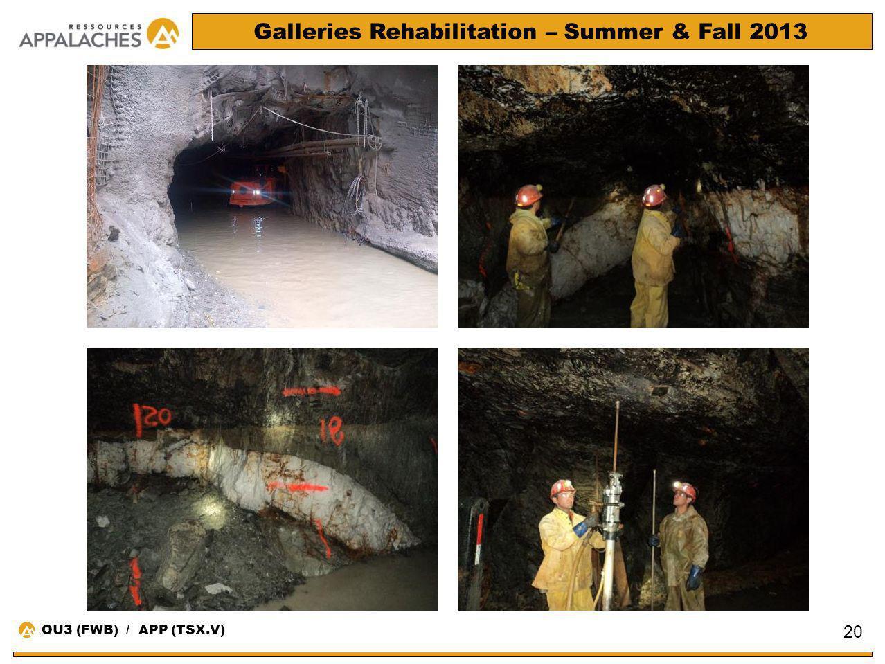 Galleries Rehabilitation – Summer & Fall 2013 20 OU3 (FWB) / APP (TSX.V)
