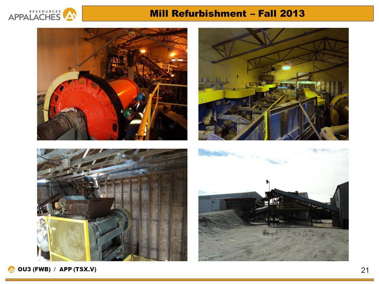 Mill Refurbishment – Fall 2013 21 OU3 (FWB) / APP (TSX.V)