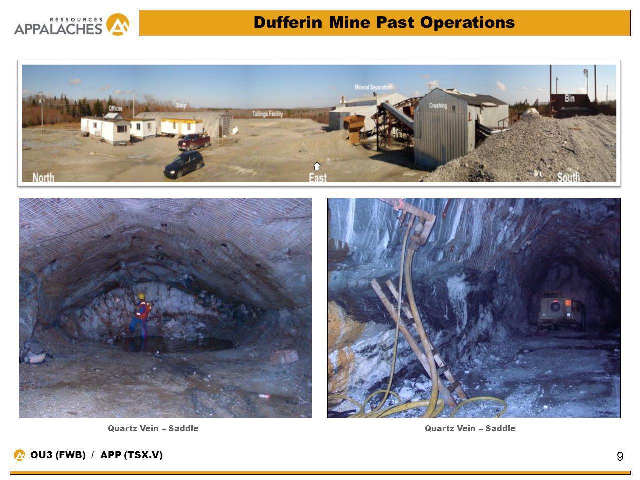 Dufferin Mine Past Operations 9 Quartz Vein – Saddle OU3 (FWB) / APP (TSX.V)