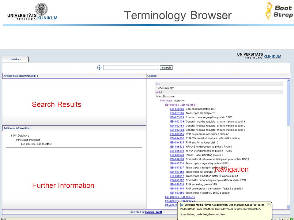 Terminology Browser Search Results Further Information Navigation