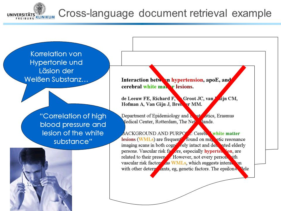 Korrelation von Hypertonie und Läsion der Weißen Substanz… Correlation of high blood pressure and lesion of the white substance Cross-language document retrieval example