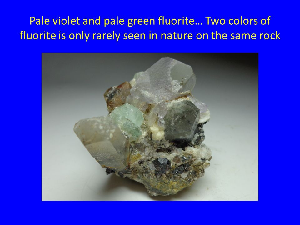 Pale violet and pale green fluorite… Two colors of fluorite is only rarely seen in nature on the same rock