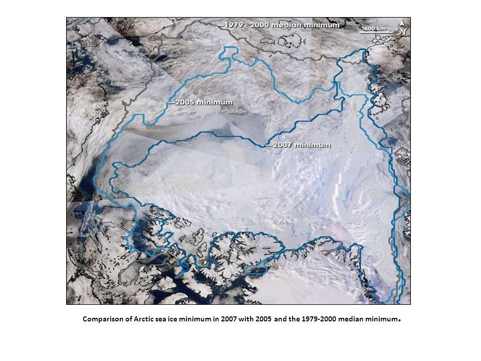 Comparison of Arctic sea ice minimum in 2007 with 2005 and the 1979-2000 median minimum.