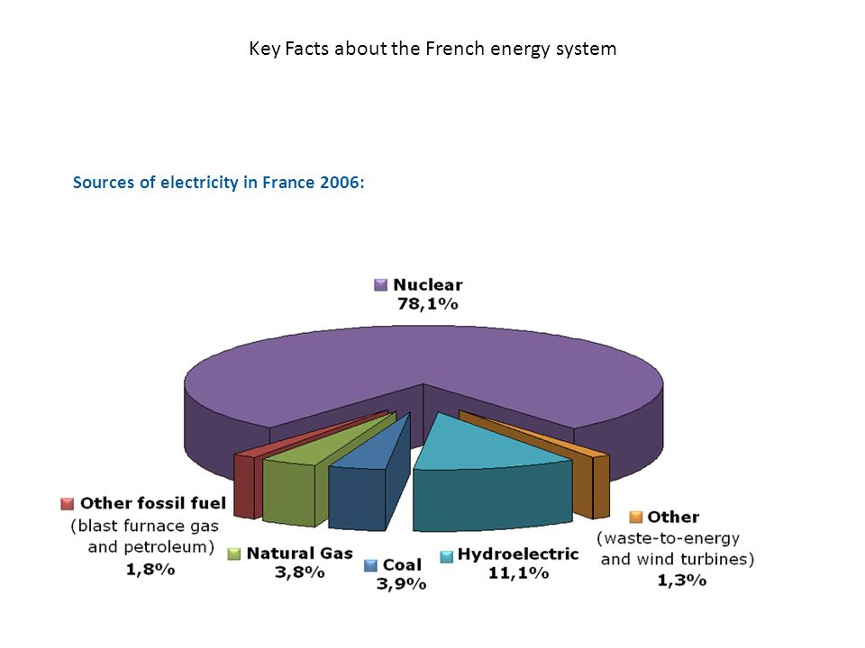 Key Facts about the French energy system Sources of electricity in France 2006: