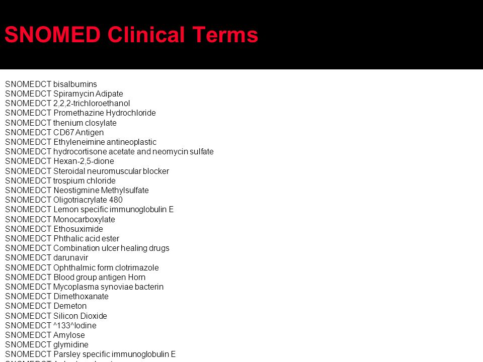 SNOMED Clinical Terms SNOMEDCTbisalbumins SNOMEDCTSpiramycin Adipate SNOMEDCT2,2,2-trichloroethanol SNOMEDCTPromethazine Hydrochloride SNOMEDCTthenium closylate SNOMEDCTCD67 Antigen SNOMEDCTEthyleneimine antineoplastic SNOMEDCThydrocortisone acetate and neomycin sulfate SNOMEDCTHexan-2,5-dione SNOMEDCTSteroidal neuromuscular blocker SNOMEDCTtrospium chloride SNOMEDCTNeostigmine Methylsulfate SNOMEDCTOligotriacrylate 480 SNOMEDCTLemon specific immunoglobulin E SNOMEDCTMonocarboxylate SNOMEDCTEthosuximide SNOMEDCTPhthalic acid ester SNOMEDCTCombination ulcer healing drugs SNOMEDCTdarunavir SNOMEDCTOphthalmic form clotrimazole SNOMEDCTBlood group antigen Horn SNOMEDCTMycoplasma synoviae bacterin SNOMEDCTDimethoxanate SNOMEDCTDemeton SNOMEDCTSilicon Dioxide SNOMEDCT^133^Iodine SNOMEDCTAmylose SNOMEDCTglymidine SNOMEDCTParsley specific immunoglobulin E SNOMEDCTAnhydrous borate SNOMEDCTTetracycline