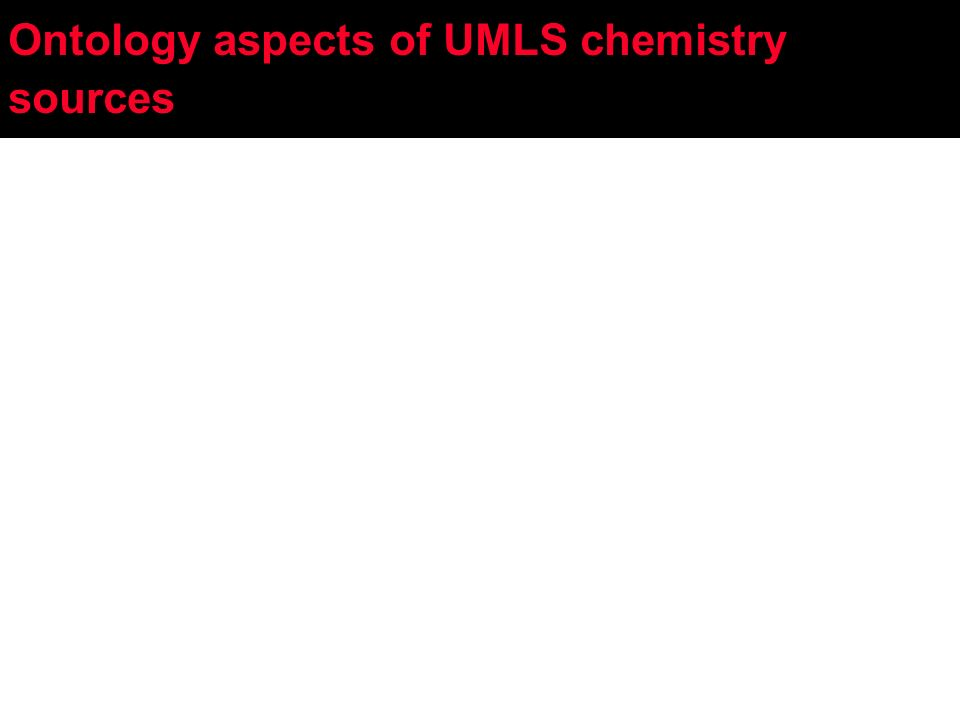 Ontology aspects of UMLS chemistry sources