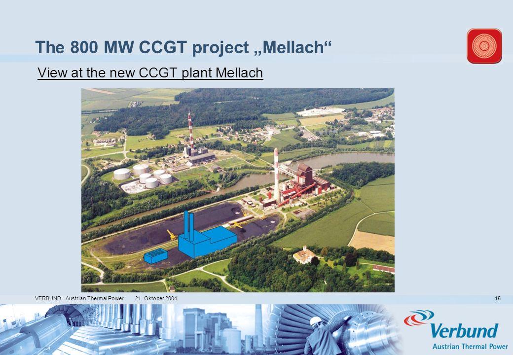 21. Oktober 2004 VERBUND - Austrian Thermal Power 15 The 800 MW CCGT project Mellach View at the new CCGT plant Mellach