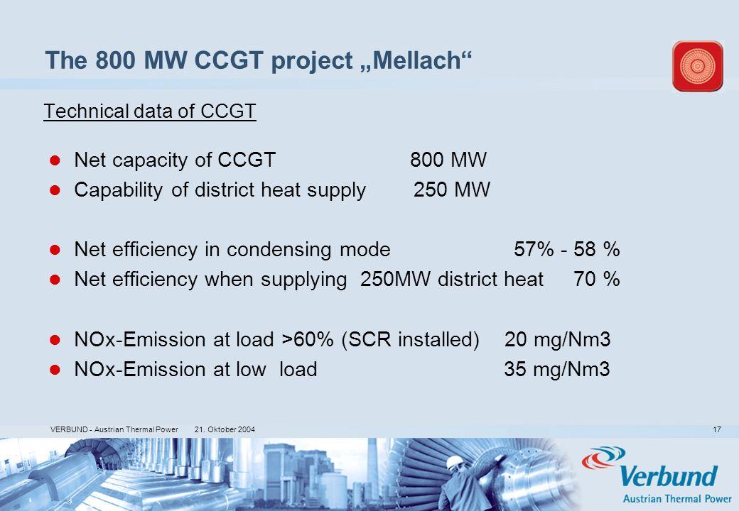 21. Oktober 2004 VERBUND - Austrian Thermal Power 17 Technical data of CCGT Net capacity of CCGT 800 MW Capability of district heat supply 250 MW Net