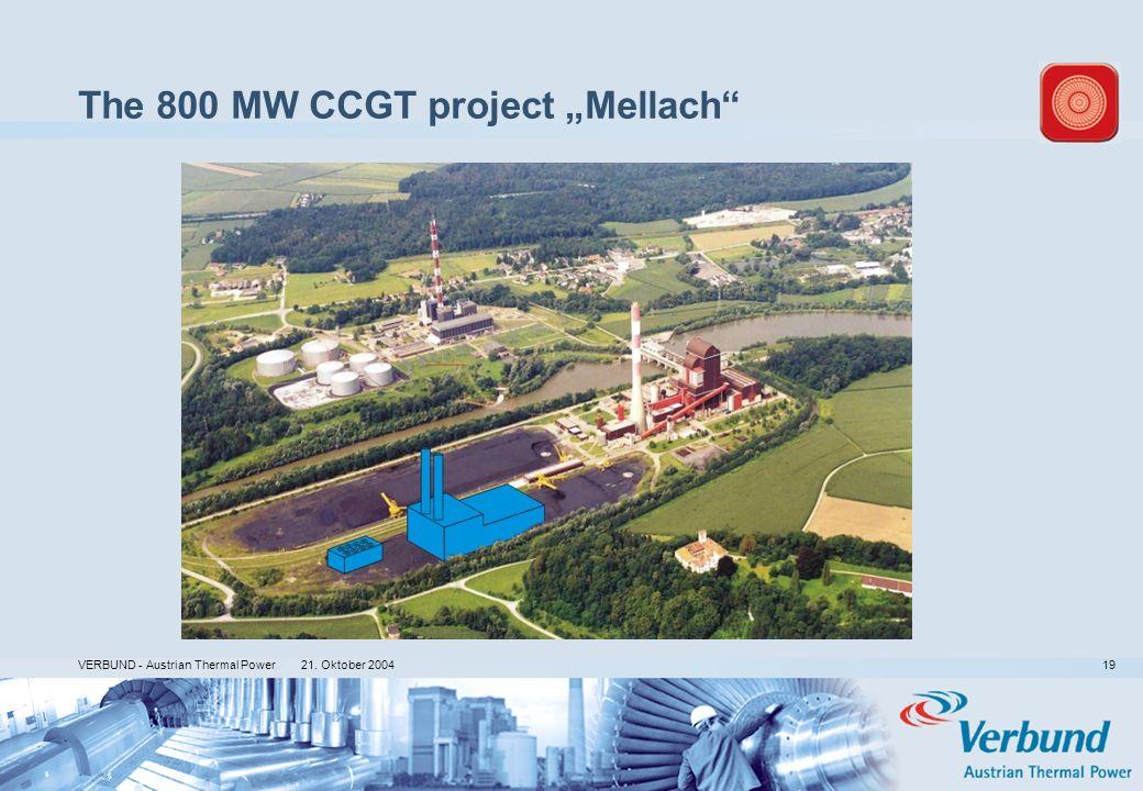 21. Oktober 2004 VERBUND - Austrian Thermal Power 19 The 800 MW CCGT project Mellach