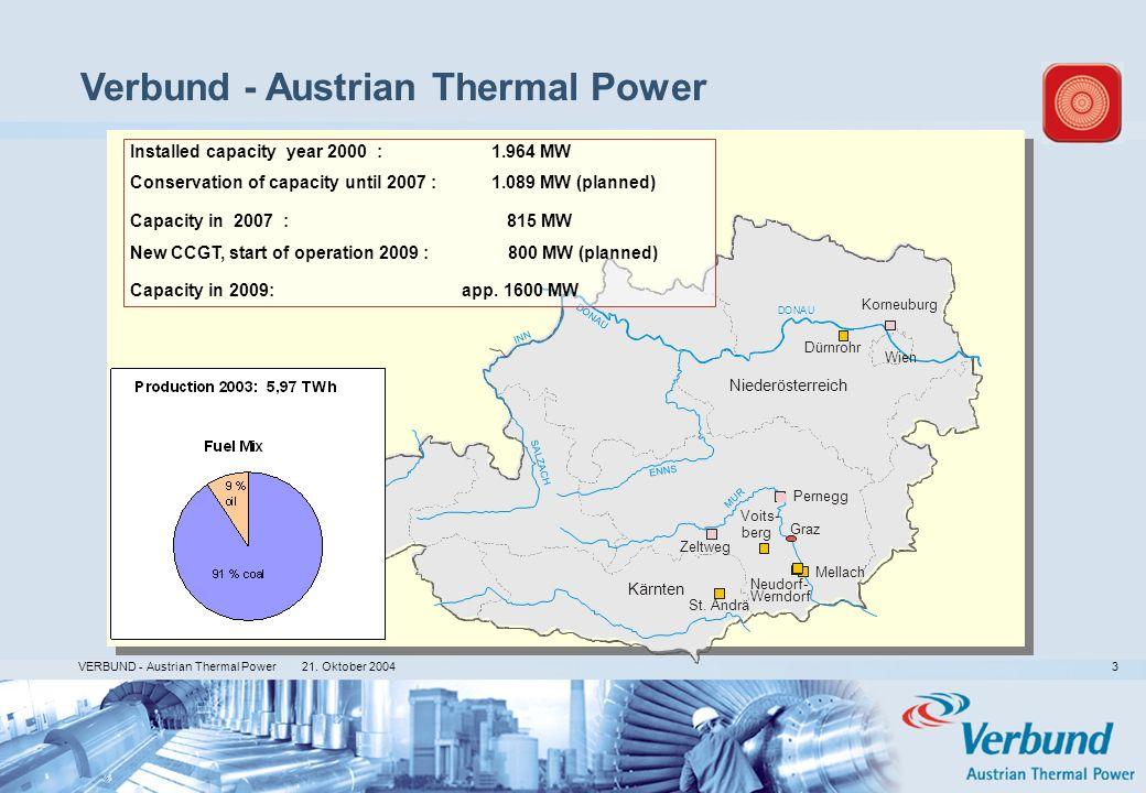 21. Oktober 2004 VERBUND - Austrian Thermal Power 3 N I N N Zeltweg St. Andrä Mellach Korneuburg Wien Graz Niederösterreich Kärnten DONAU M U R Instal