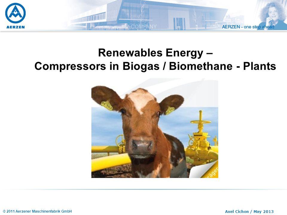 © 2011 Aerzener Maschinenfabrik GmbH Axel Cichon / May 2013 Renewables Energy – Compressors in Biogas / Biomethane - Plants