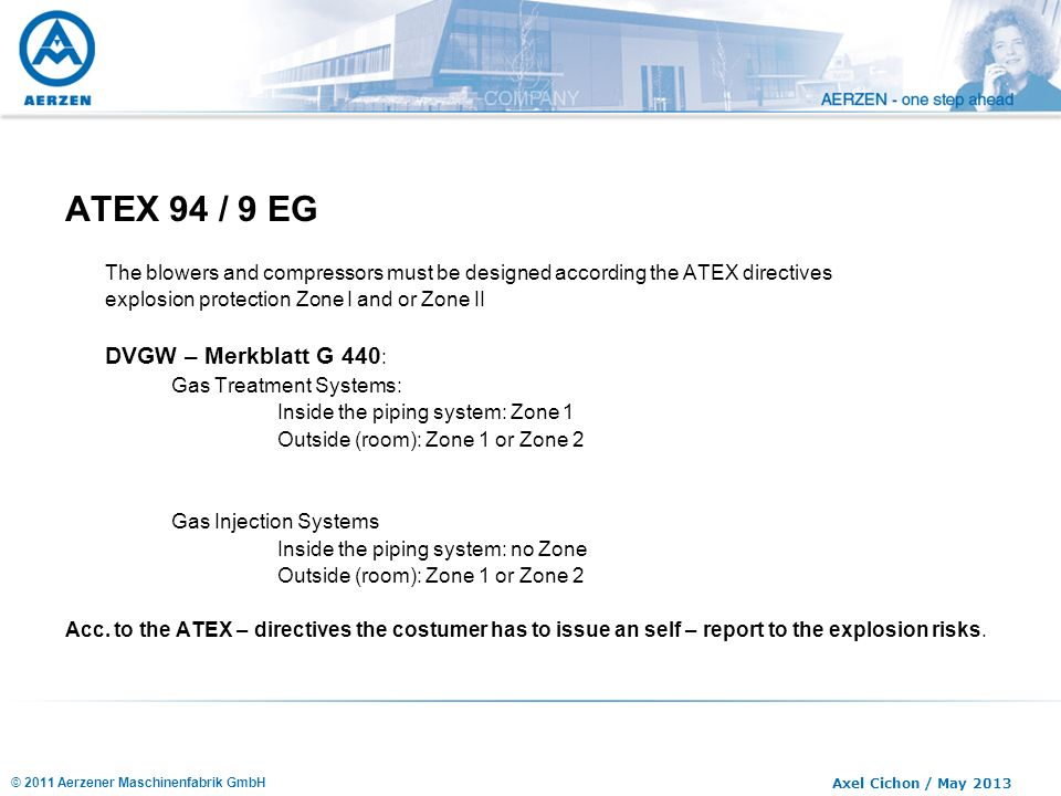 © 2011 Aerzener Maschinenfabrik GmbH Axel Cichon / May 2013 ATEX 94 / 9 EG The blowers and compressors must be designed according the ATEX directives
