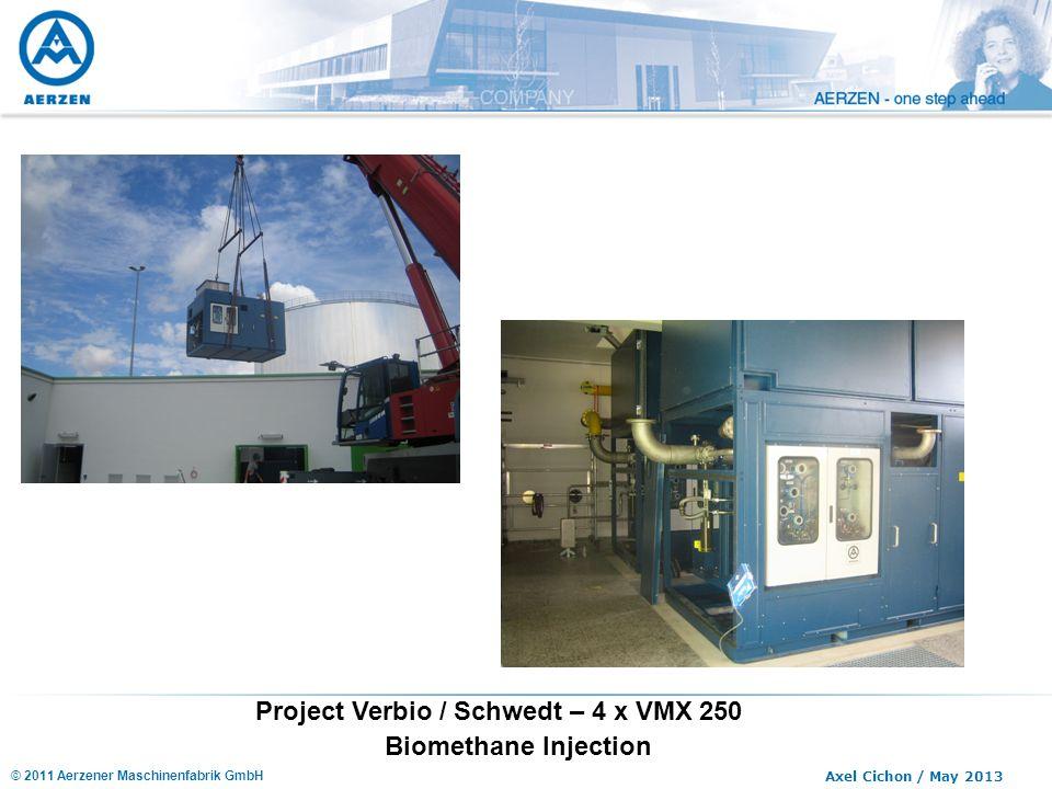 © 2011 Aerzener Maschinenfabrik GmbH Axel Cichon / May 2013 Project Verbio / Schwedt – 4 x VMX 250 Biomethane Injection