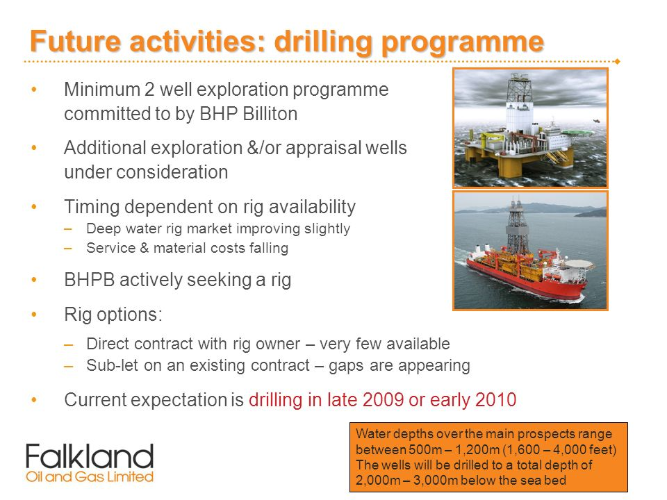 Future activities: drilling programme Minimum 2 well exploration programme committed to by BHP Billiton Additional exploration &/or appraisal wells un