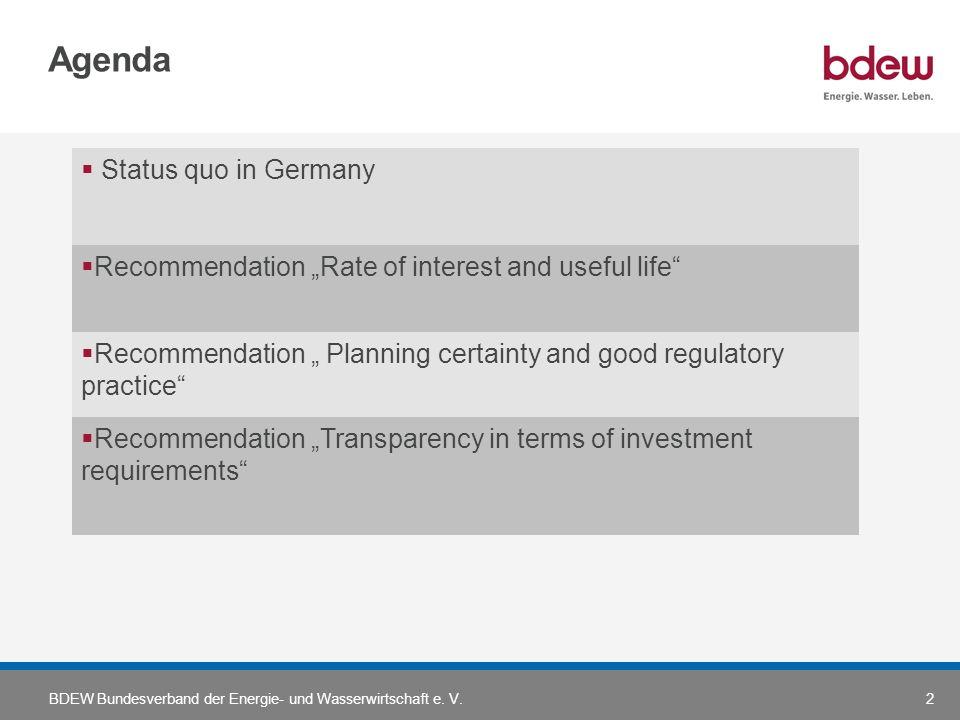 BDEW Bundesverband der Energie- und Wasserwirtschaft e. V.2 Agenda Status quo in Germany Recommendation Rate of interest and useful life Recommendatio
