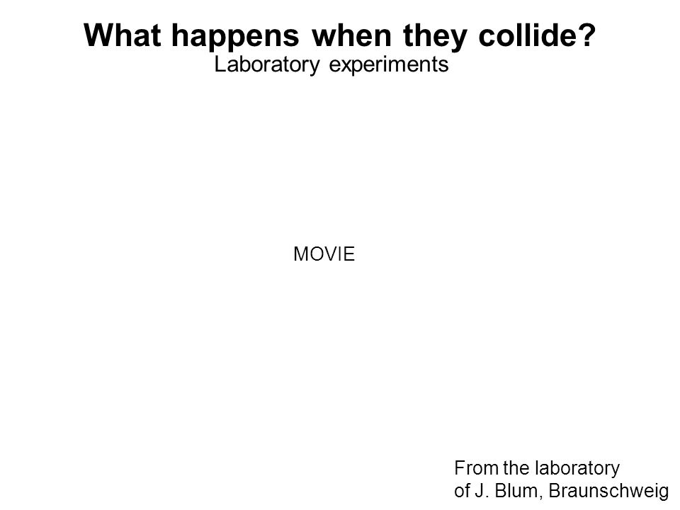 What happens when they collide? Laboratory experiments From the laboratory of J. Blum, Braunschweig MOVIE