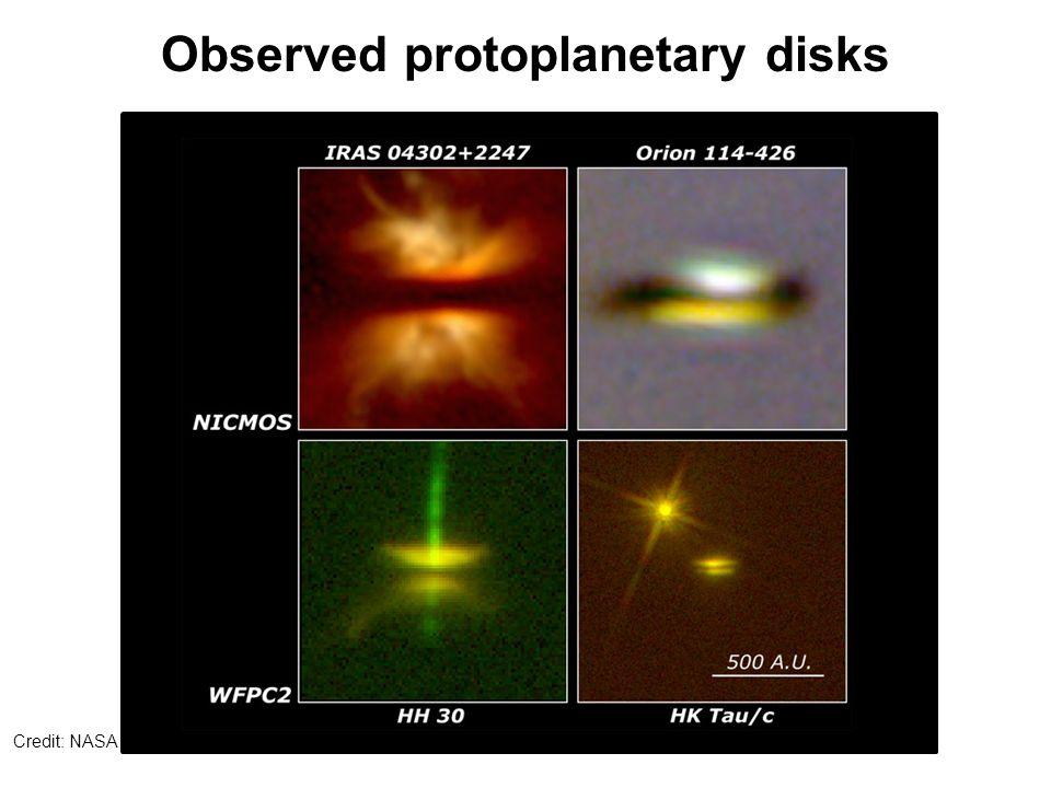 Observed protoplanetary disks Credit: NASA