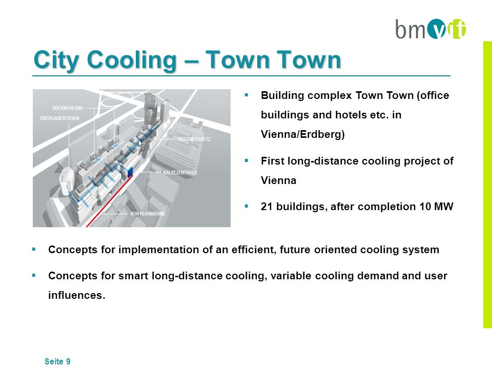 Seite 9 City Cooling – Town Town Building complex Town Town (office buildings and hotels etc. in Vienna/Erdberg) First long-distance cooling project o