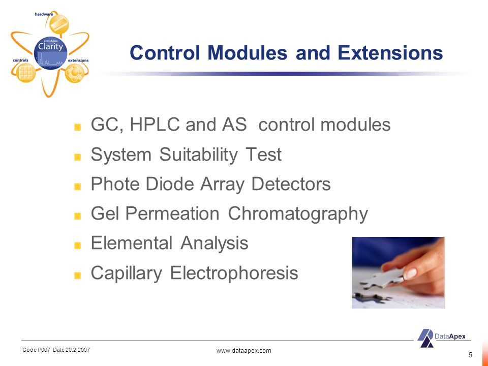 Code P007 Date 20.2.2007 www.dataapex.com 5 Control Modules and Extensions GC, HPLC and AS control modules System Suitability Test Phote Diode Array D
