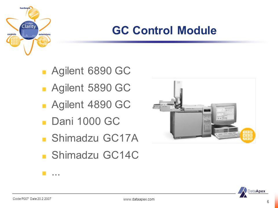 Code P007 Date 20.2.2007 www.dataapex.com 7 HPLC Control Module Agilent 1100 HPLC Knauer Smartline LabAlliance pumps Waters pumps Shimadzu pumps...