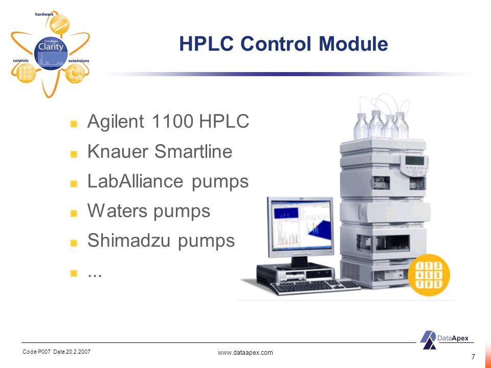 Code P007 Date 20.2.2007 www.dataapex.com 8 AS Control Module Agilent CTC Spark Holland HTA Dani...
