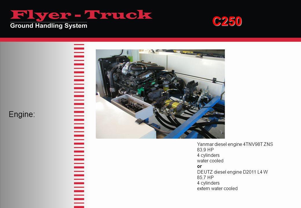 C250 Engine: Yanmar diesel engine 4TNV98T ZNS 83,9 HP 4 cylinders water cooled or DEUTZ diesel engine D2011 L4 W 85,7 HP 4 cylinders extern water cool