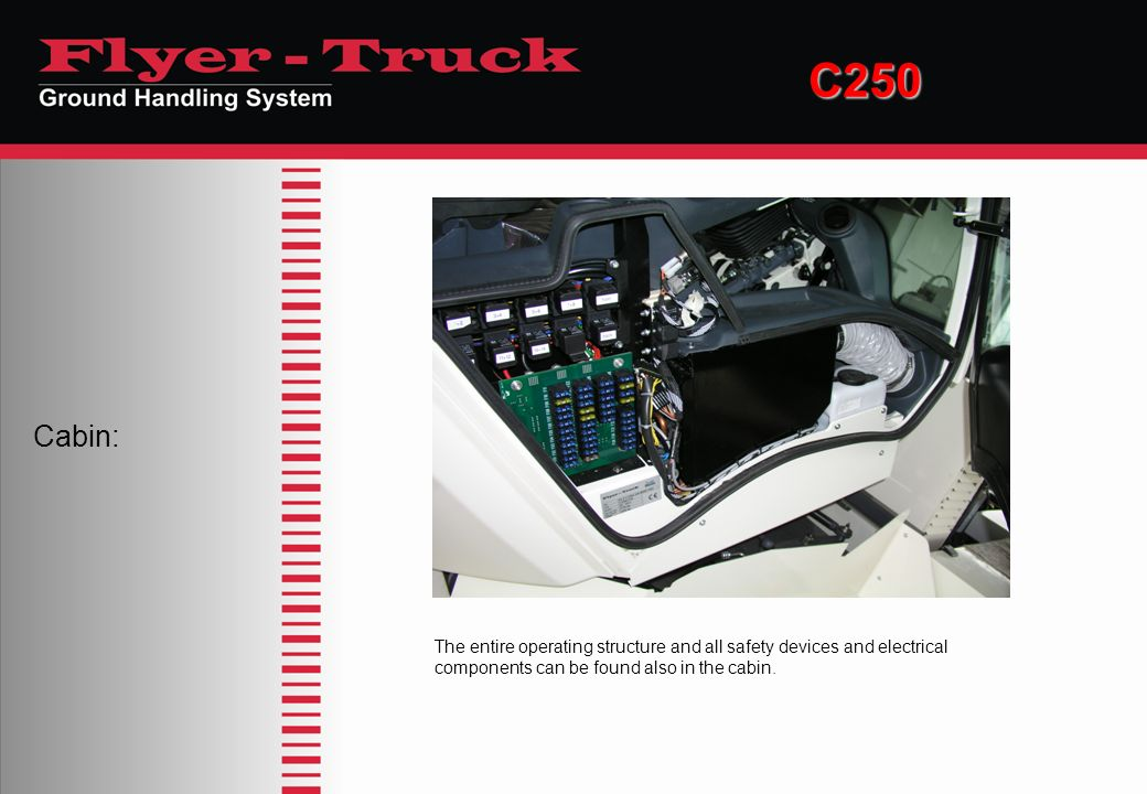 C250 Cabin: The entire operating structure and all safety devices and electrical components can be found also in the cabin.