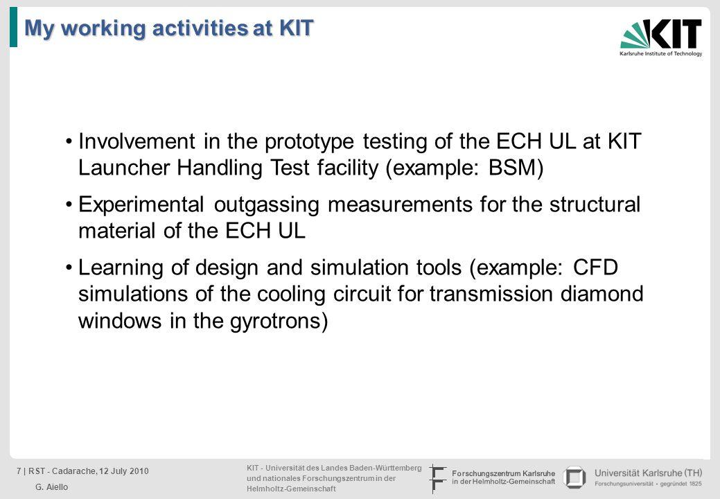 KIT - Universität des Landes Baden-Württemberg und nationales Forschungszentrum in der Helmholtz-Gemeinschaft Involvement in the prototype testing of