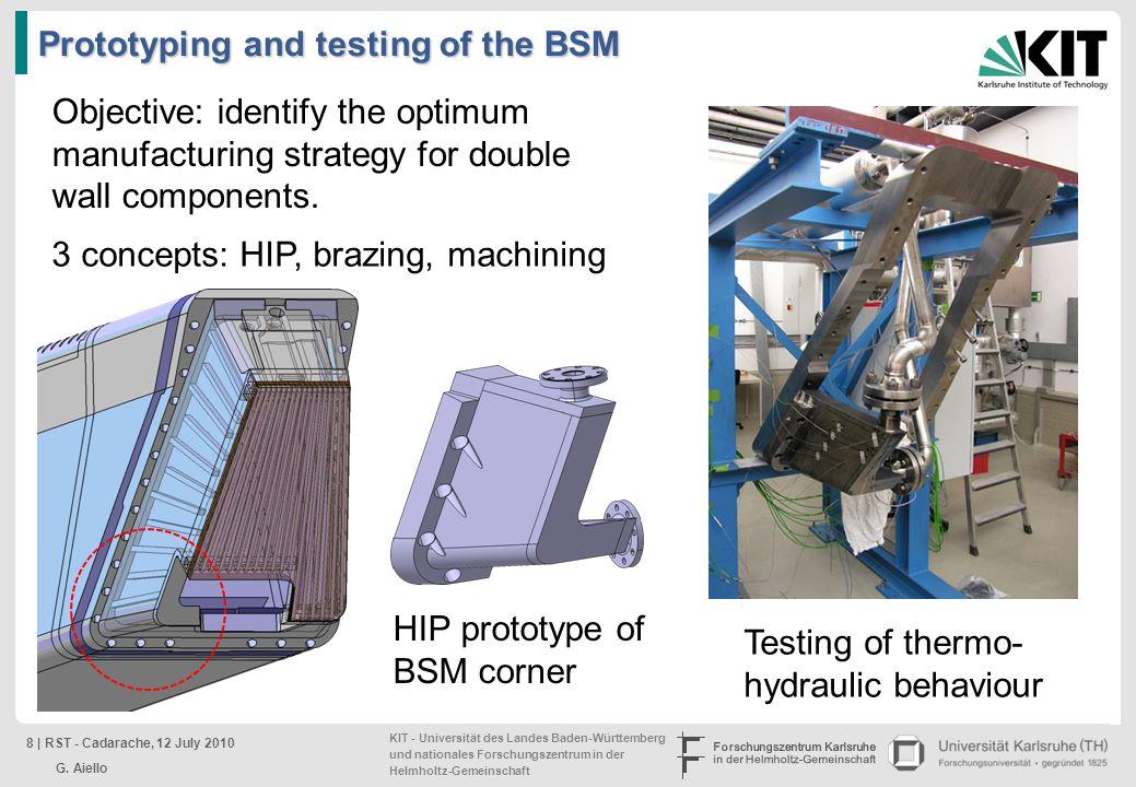 KIT - Universität des Landes Baden-Württemberg und nationales Forschungszentrum in der Helmholtz-Gemeinschaft Prototyping and testing of the BSM Testi