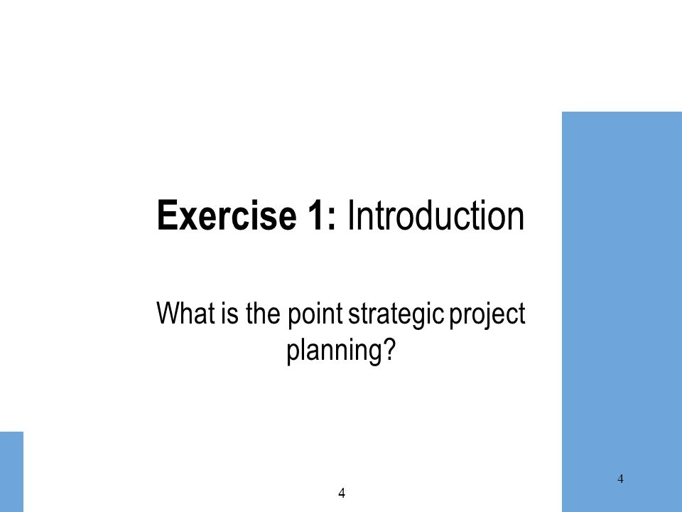 Exercise 1: Introduction What is the point strategic project planning? 4 4
