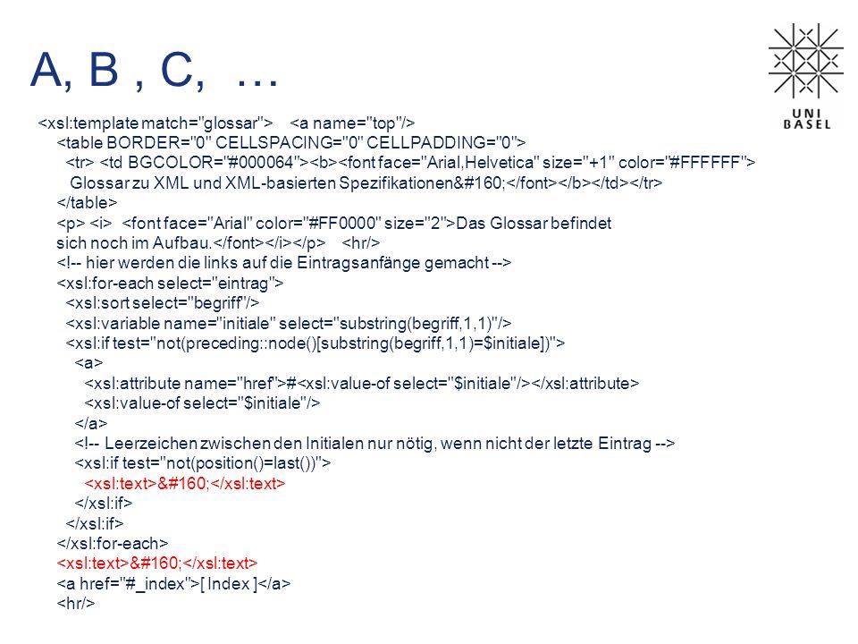A, B, C, … Glossar zu XML und XML-basierten Spezifikationen Das Glossar befindet sich noch im Aufbau. #   [ Index ]