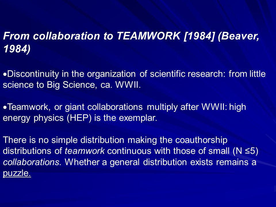 From collaboration to TEAMWORK [1984] (Beaver, 1984) Discontinuity in the organization of scientific research: from little science to Big Science, ca.