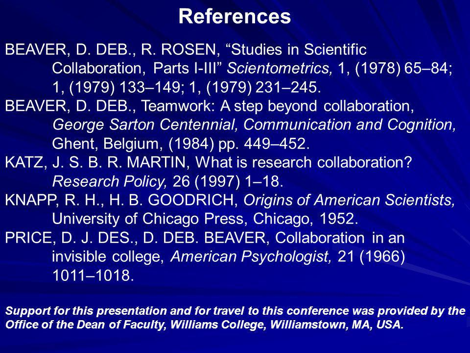 References BEAVER, D. DEB., R.