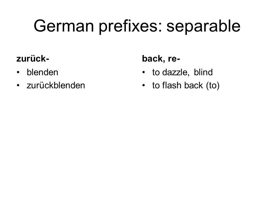 German prefixes: separable zurück- blenden zurückblenden back, re- to dazzle, blind to flash back (to)