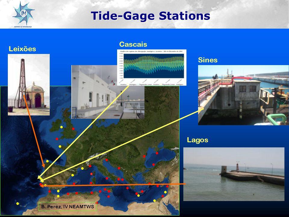 Tide-Gage Stations B. Perez, IV NEAMTWS Lagos Cascais Sines Leixões