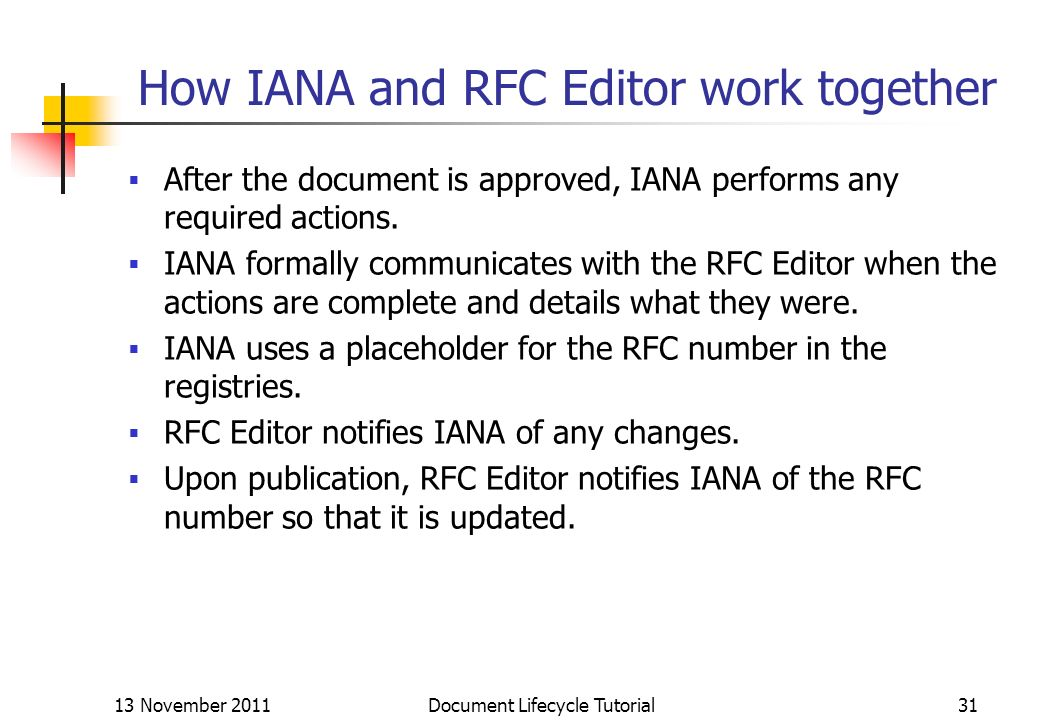 How IANA and RFC Editor work together After the document is approved, IANA performs any required actions. IANA formally communicates with the RFC Edit