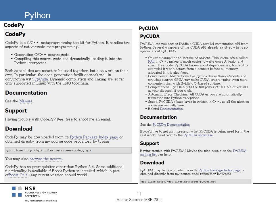 Python Master Seminar MSE 2011 11