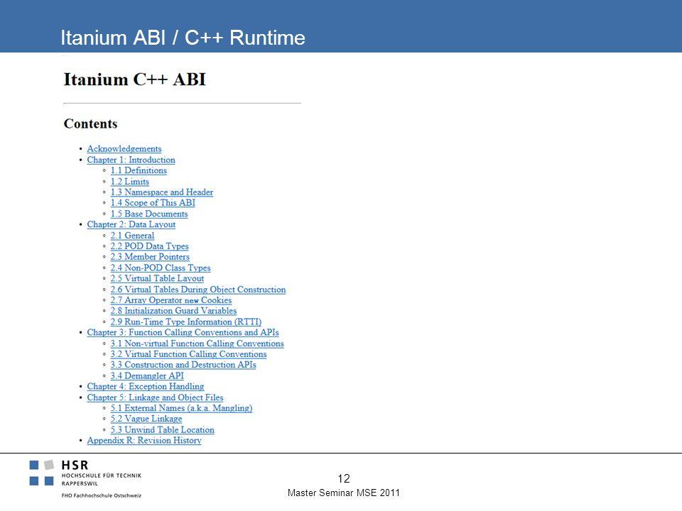 Itanium ABI / C++ Runtime Master Seminar MSE 2011 12